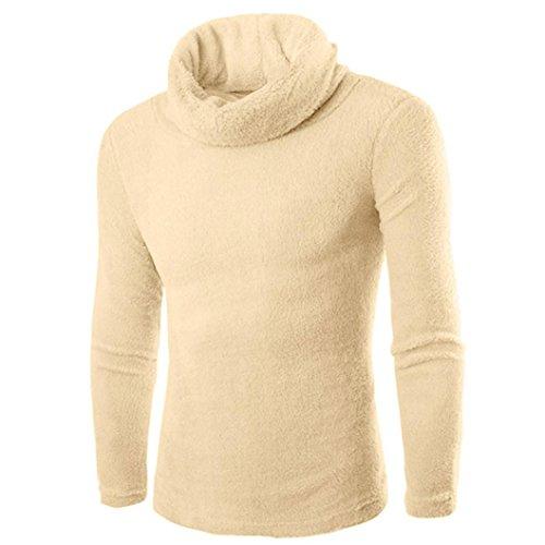 Koly_moda dell'uomo casuale alto-collare maglioni top (m, cachi)