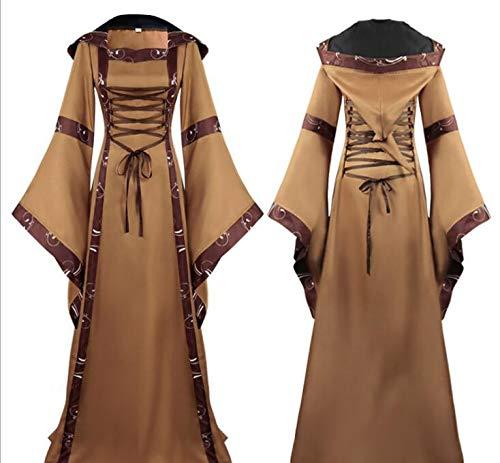 WXFC Mittelalterlichen Kostüm Frauen Vintage Ausgestelltes Ärmel Bandage Kostüm Hohe Taille Damen Renaissance Gothic Prinzessin Kleid für Cosplay Party,A,L (Renaissance Kostüm Männlich)