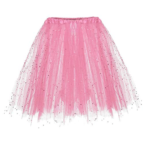 Andouy Damen Tutu Rock Tüll Sparkly Pailletten Balletttanz Organza 50s Jahre Kostüm Mini Dress-up Größe ()