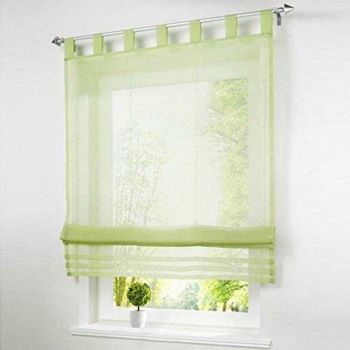 1er-Pack Raffrollo mit Schlaufen Gardinen Voile Transparent Vorhang (BxH 140x155cm, grün) Grüne Gardinen