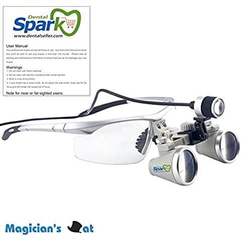 Spark 2.5 x ingrandimento professionale occhialini con Silver BP Sport telaio e montato la luce capa del LED per dentale, chirurgico, gioielliere, o hobby | Alunno distanza regolabile Model # CH250AXSL - Metal Silver Desk Clock
