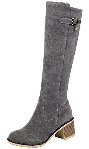 Knie Hohe Cowboy-stiefel (Unbekannt Reitstiefel Damen Faux Wildleder Block Herbst Winter Knie Hohe Stiefel von Bigtree Grau 38 EU)