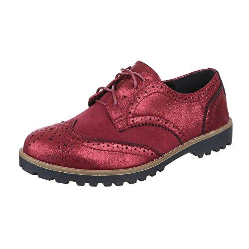 Ital-Design Schnürer Damen Schuhe Oxford Blockabsatz Perforierte Schnürsenkel Halbschuhe Weinrot