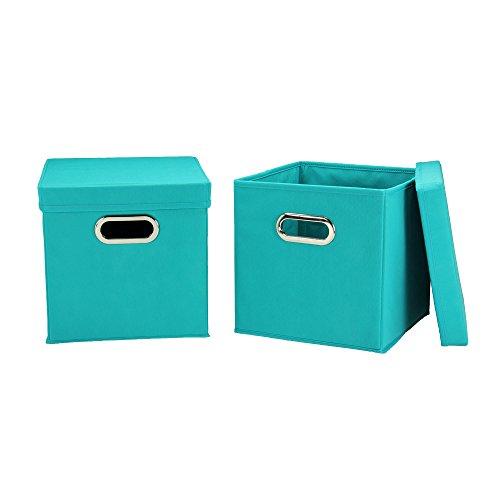 Haushalt Essentials 36–1Dekorative Aufbewahrung Würfel-Set mit abnehmbaren Deckeln | Aqua | 2er Pack (Leinwand-storage-würfel)