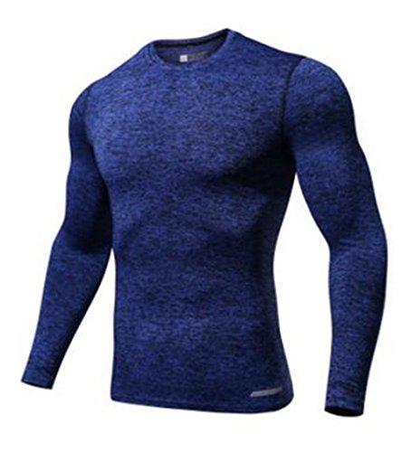 Gogofuture Herren Sport Esercizio Formazione Fitness Quick-Drying Manica Lunga T-Shirt Maglietta Casual Dark Blue
