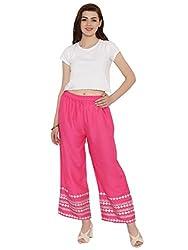 Laabha Women Pink Block Print Rayon Palazzo | Palazo for Womens | Stylish Palazzo for Women (LG-224P_S)