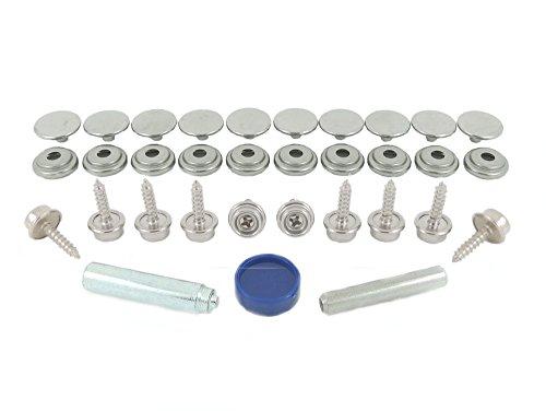 Grad 3 Stoff (BPS 850–3-16HN-Edelstahl (304Grad) Druckknopf-Verschluß Reparatur-Set für Stoff auf Holz Anwendung (16mm Stollen))