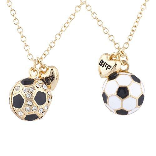 Lux Goldene Accessoires Fußball Cameo Best Friends Forever Anhänger Halskette 2 Stück