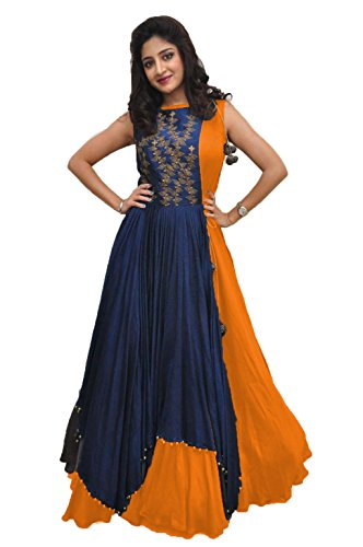 Rudra zone Women's Banglori Gown with Jacket (RZF017, Navy Blue, Medium)