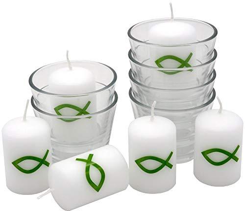 ZauberDeko 6X Kerze Votivkerze Fisch Grün 6X Votivglas Kommunion Konfirmation Tischdeko Kerzenglas