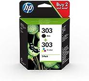 HP 303 3YM92AE, Negro y Tricolor, Cartuchos de Tinta Originales, Pack de 2, compatible con impresoras de inyec