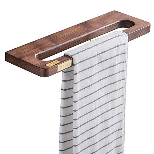 YRP Toallero Negro Madera de Nogal Cuarto de baño Solo Poste Cobre Toallero Estante de baño Estante de Toalla 38 × 12 × 2 cm