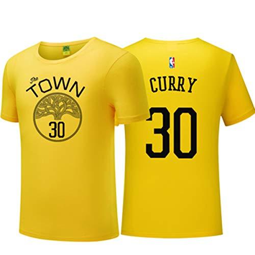 NBA Herren T-Shirt Golden State Warriors Basketball Kurzarmtrikot Rundhals Basketball Training Urban Edition Atmungsaktives Sweatshirt yellow-7-M