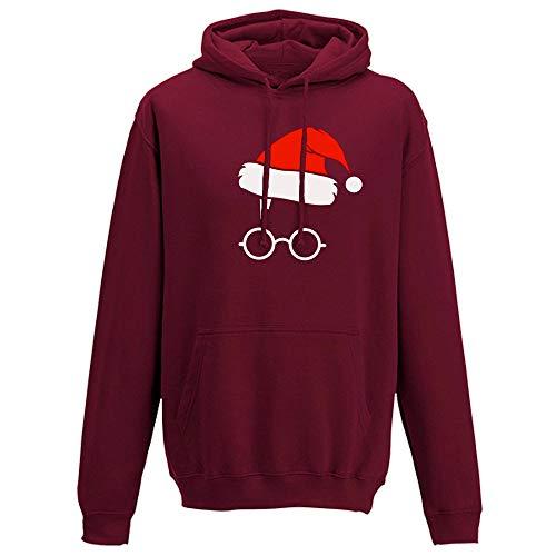 Zegeey Damen Kapuzenpullover Sweatshirt Party Weihnachts KostüM Print Langarm Hoodie LäSsige Herbst Winter Festliche Pullover Bluse Oberteile Warm Bequem Sportswear(Wein,EU-38/CN-XL)