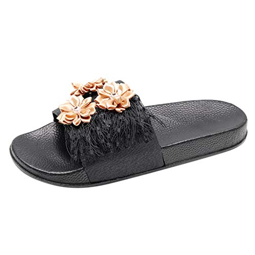 Mitlfuny Damen Sommer Sandalen Bohemian Flach Sandaletten Sommer Strand Schuhe,rutschfeste atmungsaktive Damen Blumen Quaste Flats Open Toe Schuhe Casual Hausschuhe 2 Studded Platform Sandal