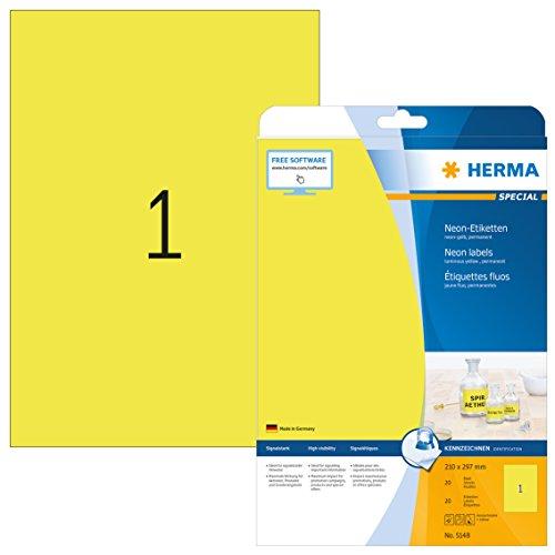 Herma 5148 Neonetiketten signalstark (DIN A4 Format 210 x 297 mm auf Papier matt) 20 Stück, neon-gelb, selbstklebend, PC-bedruckbar