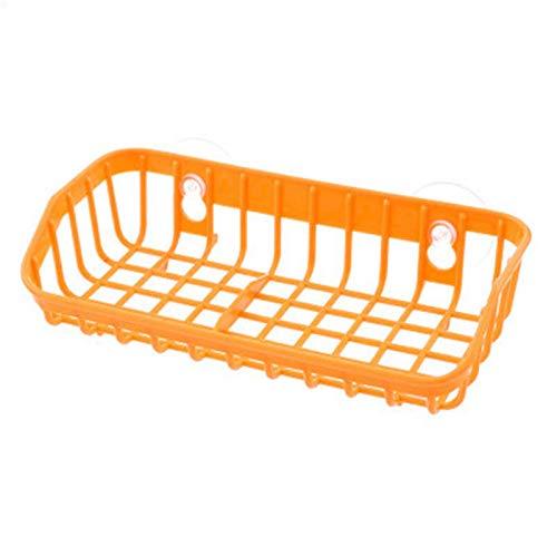 Doppel Saugnapf Multifunktions Schwamm Ablauf Rack Sink Regal Kunststoff Sauger Aufbewahrungswerkzeug Lagerregale Küchenzubehör Orange - Metall Gefrierschrank Für Rack