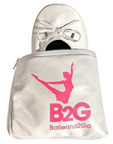 e Ballerinas Schuhe Satintasche - rollbare Wechselschuhe Afterparty Flache Schuhe guenstig zum mitnehmen Schuhe zum Falten Slipper Flats (40/41, Weiss) ()
