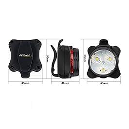 AMANKA Luci per Bicicletta, Set Luce Bici LED Light con 5V/2A Caricabatterie, 400LM, Luci Bici LED di Avvertimento Set Fari Posteriori Combinazioni