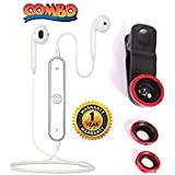 Master Gadget Universal 3 In 1 Mobile Camera Lens With Macro, Fiesheye & Wide Angel Lens For Smartphones Photography And Certified Mini S6 Bluetooth Wireless In Ear Earphone For Android And IOS Devices