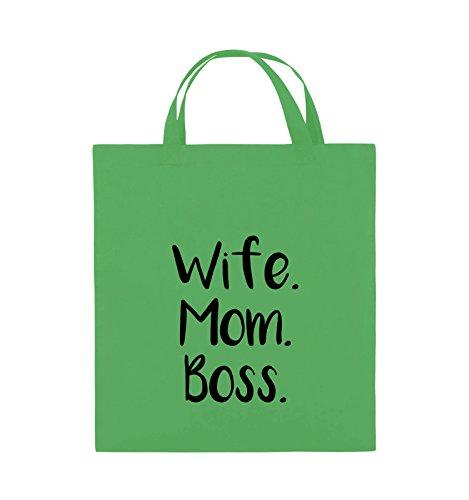 Buste Comiche - Moglie Mom Boss - Borsa In Juta - Manico Corto - 38x42cm - Colore: Nero / Rosa Verde / Nero