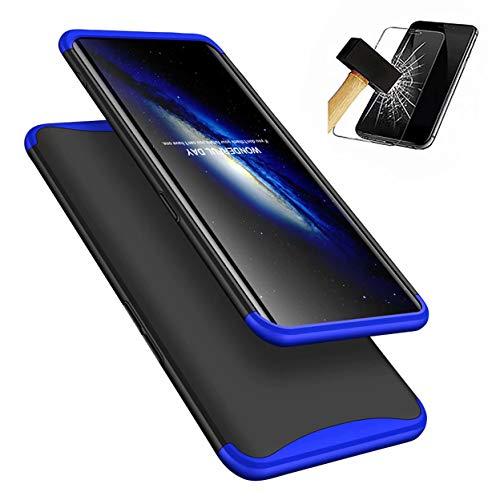 Oppo Find X Hülle + Panzerglas, LaiXin 360 Grad Handyhülle Ultra Dünn PC Plastik Anti-Kratzen Schutzhülle Schutz Case mit Bildschirmschutzfolie für Oppo Find X 2018 - Blau/Schwarz