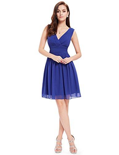 Ever Pretty Robe de soir¨¦e au genou en double V-col classique 03989 Bleu sapphir