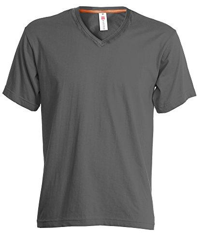 T-Shirt Da Lavoro Maglietta Manica Corta Scollo a V 100% Cotone Payper V-Neck, Colore: Smoke, Taglia: M