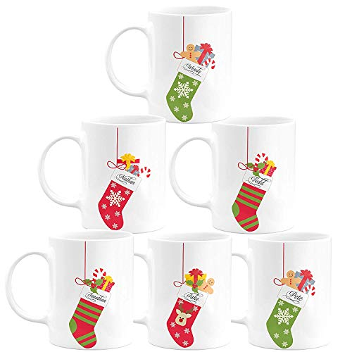 feuerwehr namen child Christmas Gifts Personalized Coffee Mug - Socks with Your Family Name - 11oz - 5 Different Designs - Christmas Gifts, Birthday Gifts, Housewarming Gifts - Design 2 - Set of 6