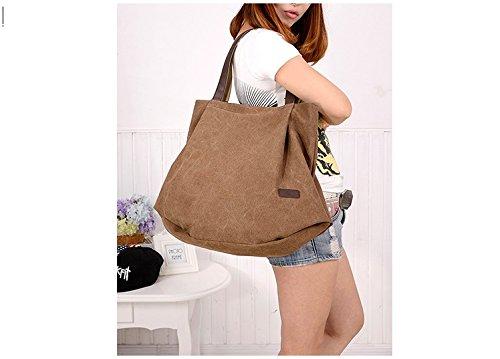 VADOOLL Damen Schultertasche Canvas Totes Hobo Bag mit einfachem Stil Braun