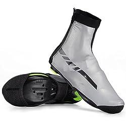 ROCKBROS Couvre-Chaussures de Vélo étanche Surchaussure Imperméables Thermiques avec Hautement Réfléchissants en Polaire L