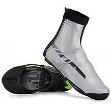 RockBros impermeable Ciclismo cubrezapatillas de ciclismo (reflectante térmica zapatos cubre forro polar, color Black Grey, tamaño L/XL