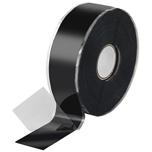 Poppstar 1008864 1x 11m selbstverschweißendes Silikonband, Silikon Tape Reparaturband, Isolierband und Dichtungsband (Wasser, Luft), 25mm breit, schwarz (Luft-sanitär)