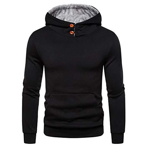 Xmiral Kapuzenpullover Herren Patchwork Einfach Langärmeliges Hoodie Sweatshirt mit Tunnelzug Herbst Sports Outdoor Tops Pullover(h Schwarz,L) -
