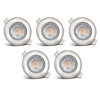 Set of 5 recessed LED lights I Downlights I ø 80 mm I LED ceiling spotlight I 5x LED module 5W 450lm 3,000K I Warm White I Matte nickel I Ultra-flat - only 30mm installation depth I IP23