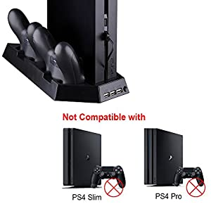SmaAcc Cooling Fan for PS4 Playstation DualShock 4 Controller with Dual Charging Station (Not Compatible with PS4 Slim/Pro)