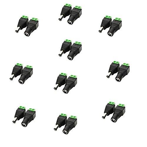LitaElek 2,1mm x 5,5mm DC Buchse + DC Stecker Adapter um Schraubstecker Anschluss Schrauben für 5050 3528 2835 5630 Einfarbige LED Streifen Licht, CCTV Kamera, usw. (10 x DC Buchse, 10 x DC Stecker) -