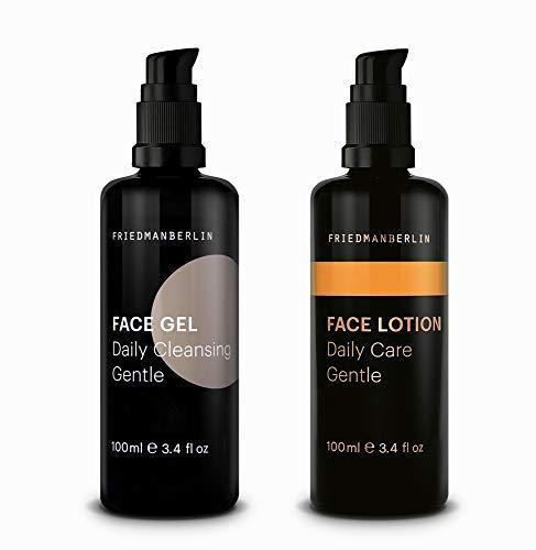 Pflegeset für Männer von FRIEDMANBERLIN | Geschenkset mit Gesichtsreinigung & Gesichtspflege für jede Haut | Naturkosmetik 2er Set (100ml & 100ml)