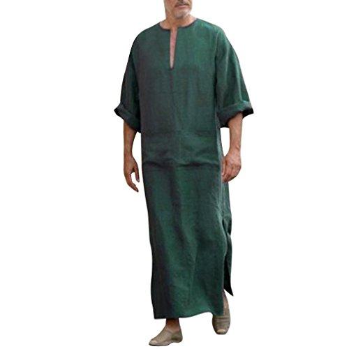 GreatestPAK Lose Herren Ethnic Robes Solid Langarm-Lose Vintage-Kleid Kaftan