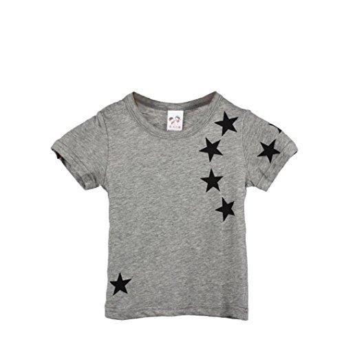 LuckyGirl Bébé Garçons Enfants Manches Courte étoiles Impression T-Shirt (Gris, Âge: 6~7 Ans)