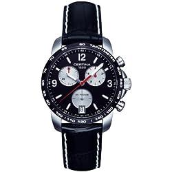 Certina DS Podium - Reloj de cuarzo para hombre, correa de cuero color negro