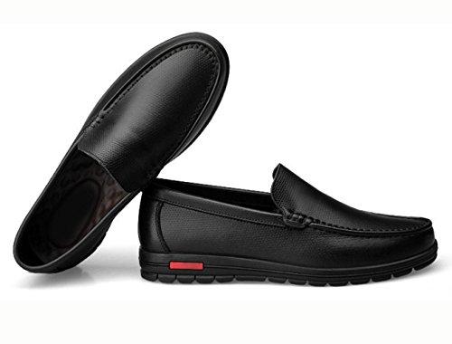 WZG Herrenlederschuhe große Yards und Dünger, die Zahl weiteten Schuhe, Freizeitschuhe, flache Schuhe zu erhöhen Black