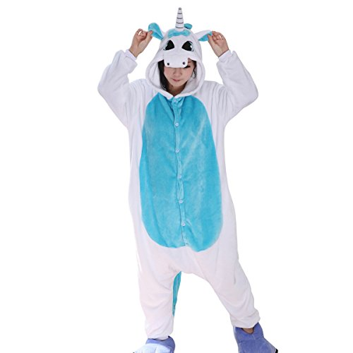 Aivtalk Unisex Tierkostüme Pyjamas Flanell Schlafanzug Nachtwäsche Kostüme für Fasching Kinderparty Karneval Beste Geschenk zum Weihnachten - Blau Einhorn Größe (Wear Homewear Kostüm Cosplay Pyjamas Sleepsuit Lounge)