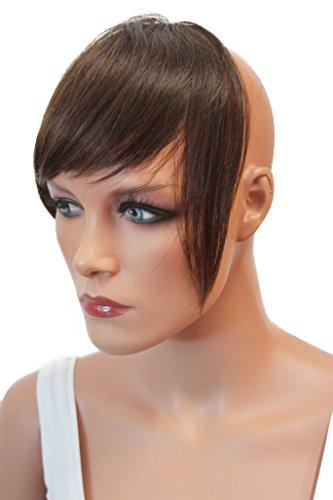 PRETTYSHOP 100% Echthaar Pony Human Hair Haarteil Haarverdichtung Haarverlängerung H313f (Braun Lieferung Mann Kostüm)