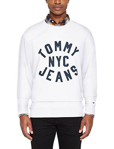 Tommy Jeans Herren Sweatshirt Tjm Essential Graphic Crew Weiß (Classic White 100)