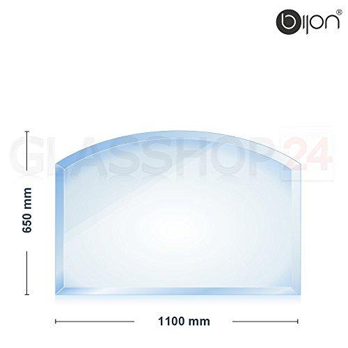 Preisvergleich Produktbild bijon® - 8mm Kamin Glasbodenplatte - Segmentbogen 650x1100x8mm -18mm Facette