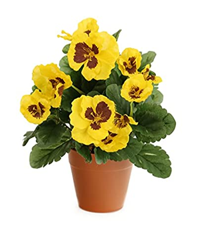 Closer2Nature Artificial 30cm Yellow Pansy Plug Plant - Pot Not Included