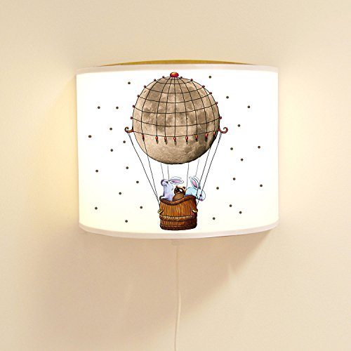 ilka parey wandtattoo-welt Kinderlampe Wandlampe Heißluftballon Lampe Motivlampe mit Punkte ls90