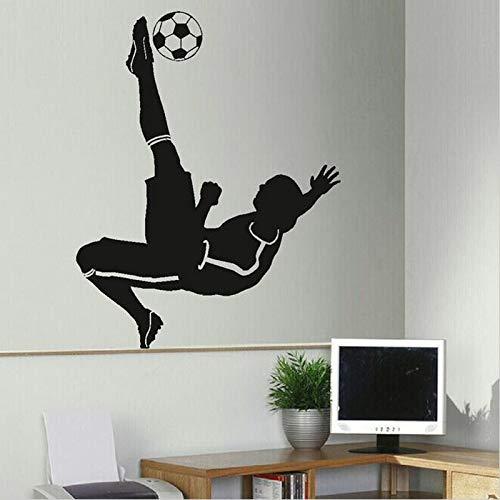 Zhuhuimin adesivo murale giocatore di calcio di calcio per camerette per ragazzi camere da letto decorazione camera da letto murale sport casa adesivi murali per palestra 1 44x55cm