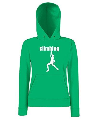 T-Shirtshock - Sweatshirt a capuche Femme SP0052 Climbing Man Maglietta Vert